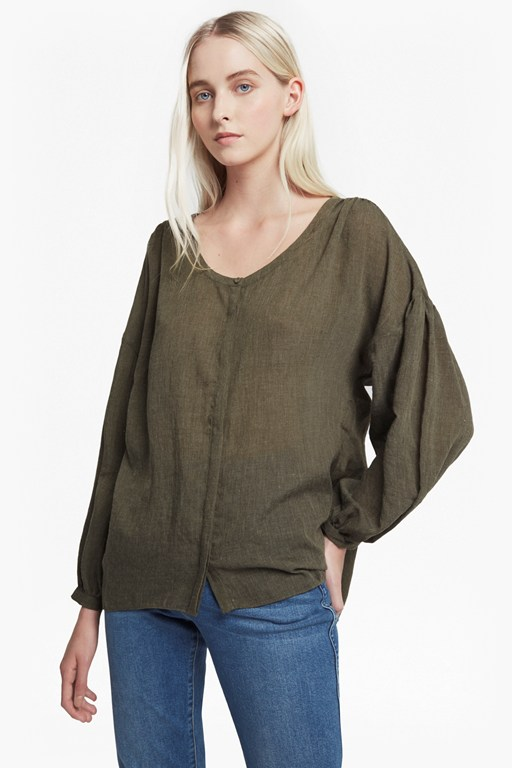 betsy draped scoop neck top