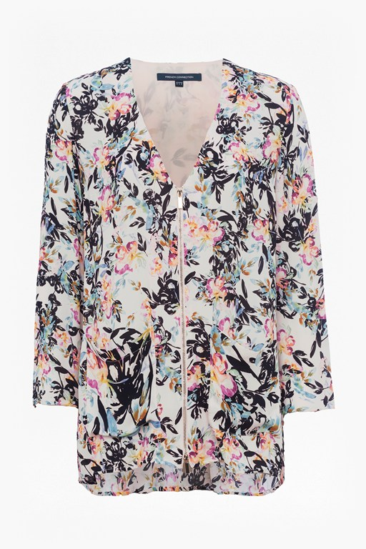 delphine crepe mix v neck top