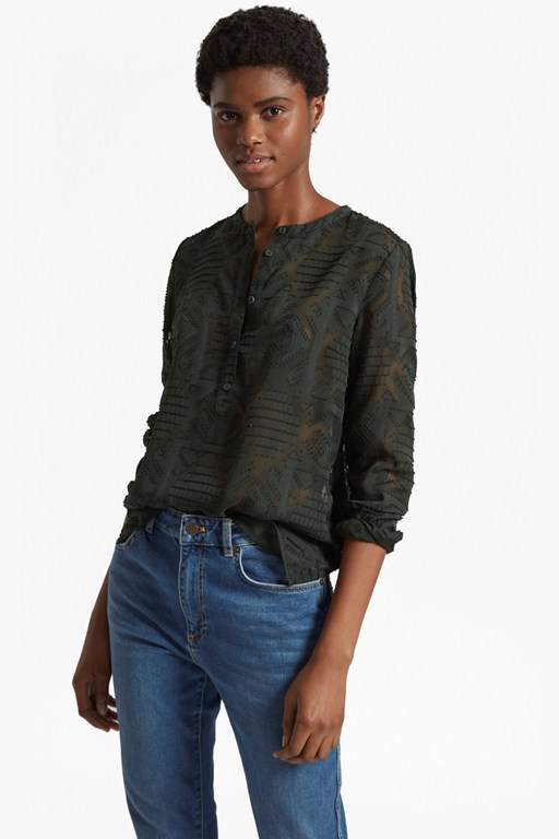 edna fil de coupe collarless shirt