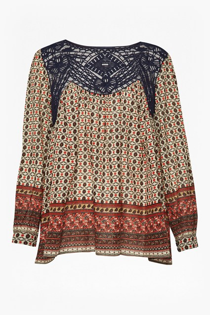 Lace and Printed Crepe Smock Top