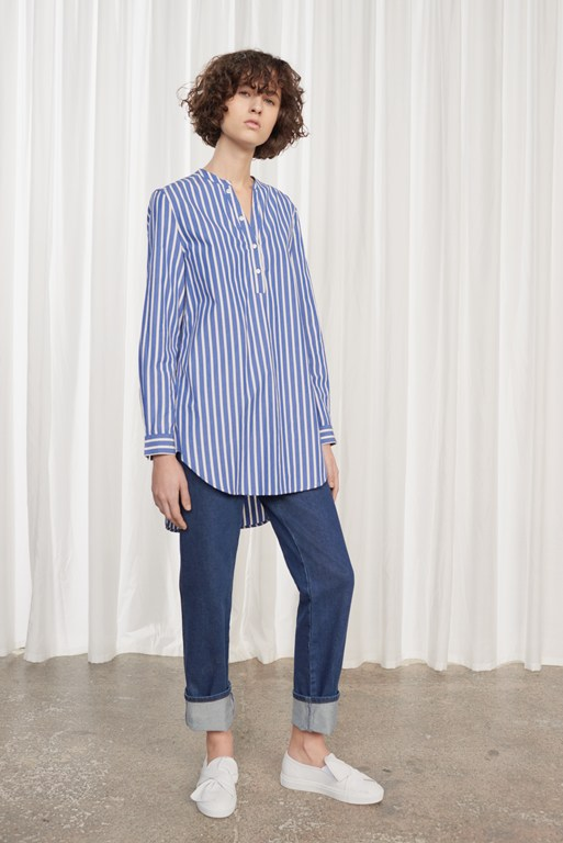 sophia striped pop over longline shirt