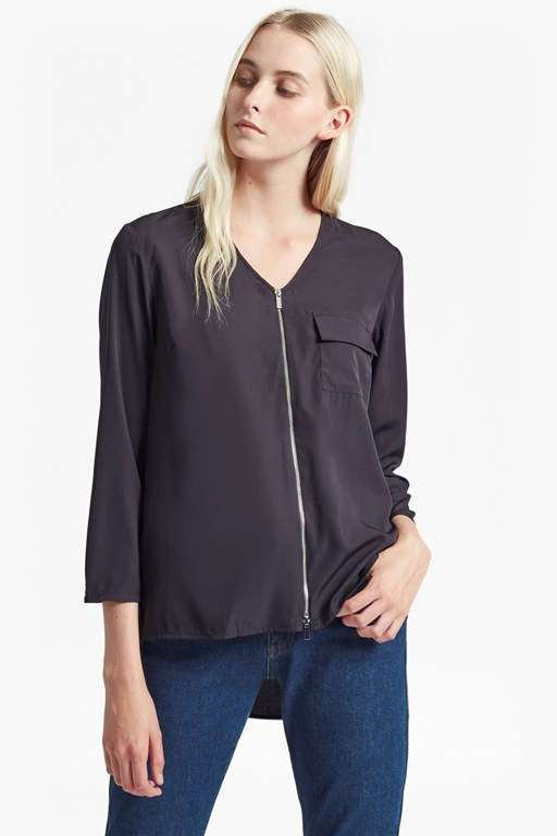 sammy shirting belle zip up top