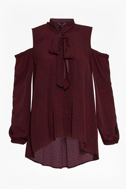 Callie Crepe Cold Shoulder Blouse