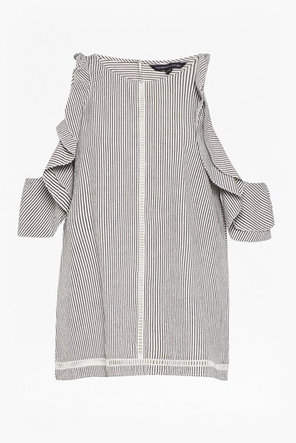 Clea Cotton Cold Shoulder Ruffle Top
