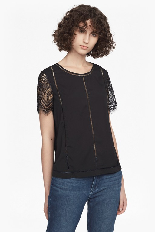 classic crepe and lightweight lace t-shirt