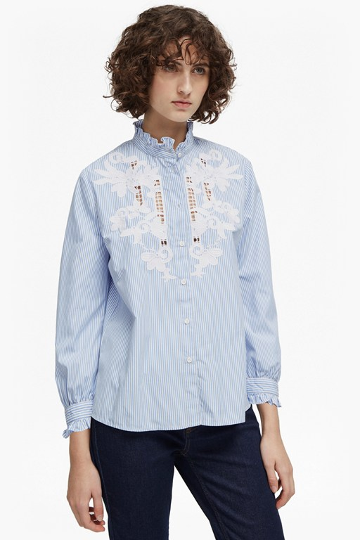 olasega stripe grandad collar shirt