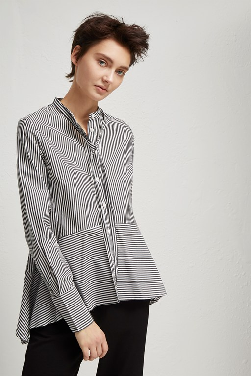 summer stripe mix tie neck shirt