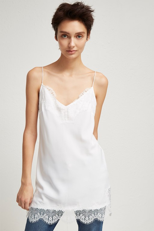 crepe strappy lace camisole