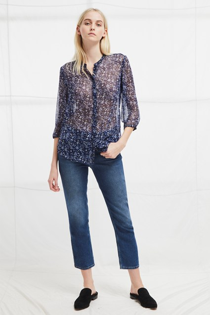 Savana Crinkle Collarless Shirt