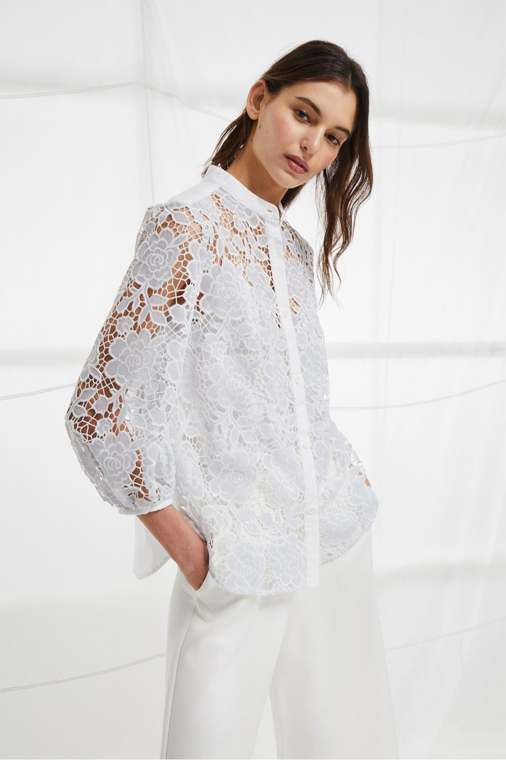 8dbe4003d26be Chania Lace Puff Sleeve Shirt. loading images.