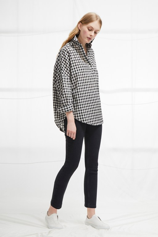 materia linen gingham pull over shirt