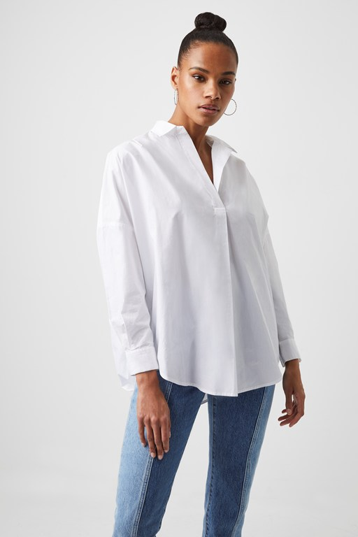 Women 39 s tops summer tops french connection for Fitted white dress shirt womens