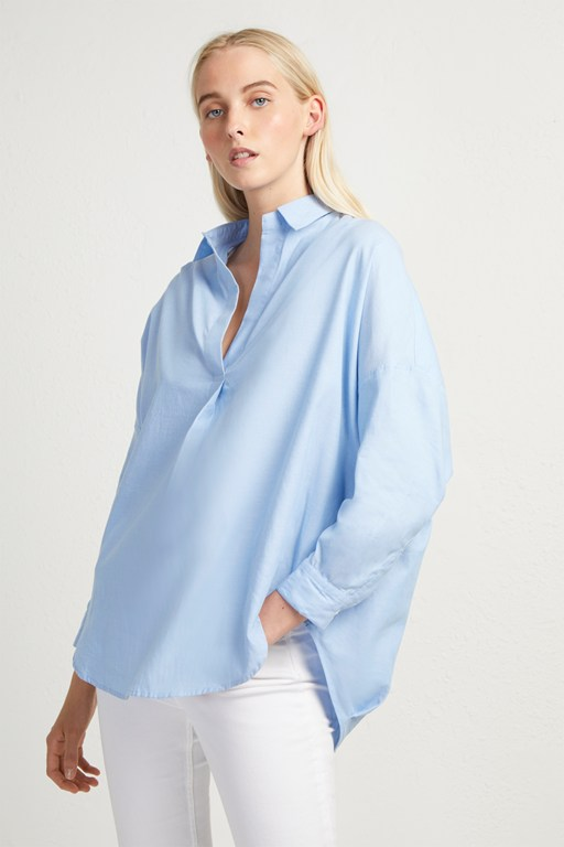 yarn dye cotton pop over shirt