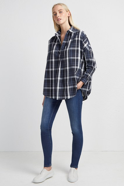 Yarn Dye Check Pop Over Shirt