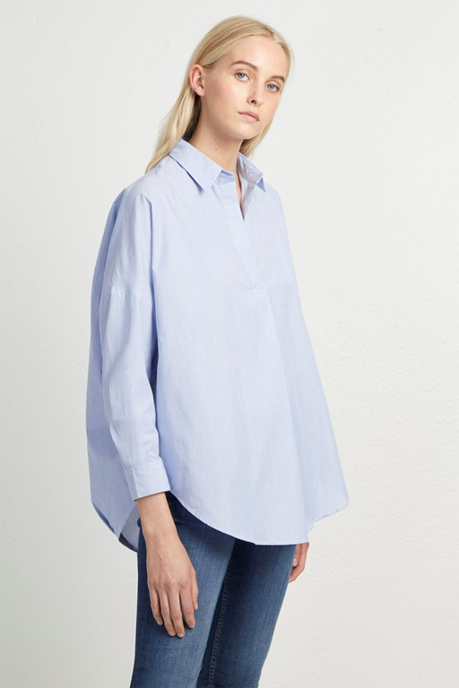 yarn dye fine stripe pop over shirt