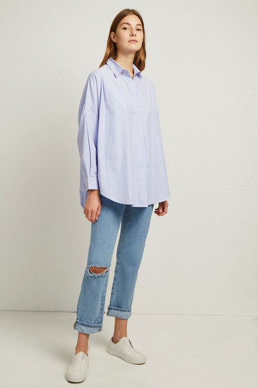 rhodes poplin ticking stripe pop over shirt