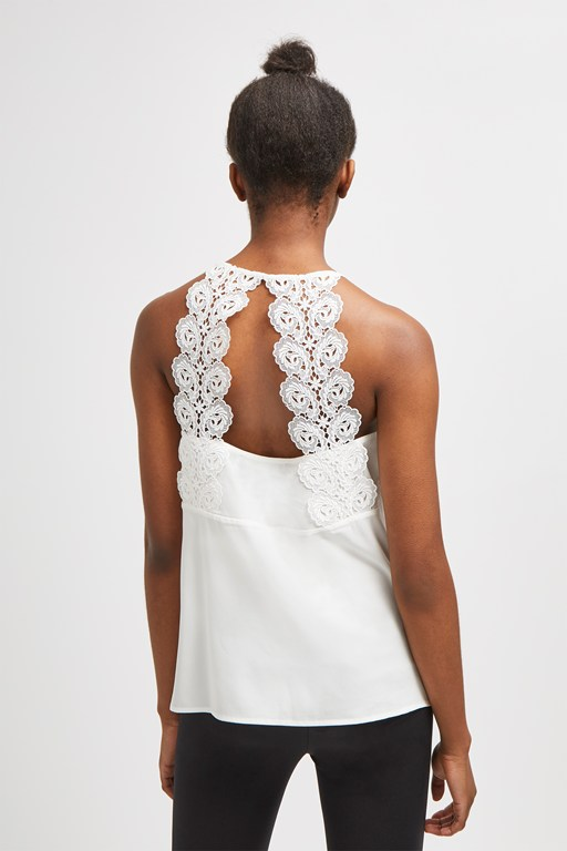 ancanthe crepe light lace back top