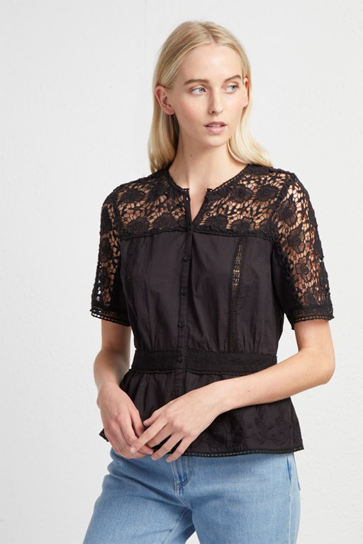 alba lace short sleeve shirt