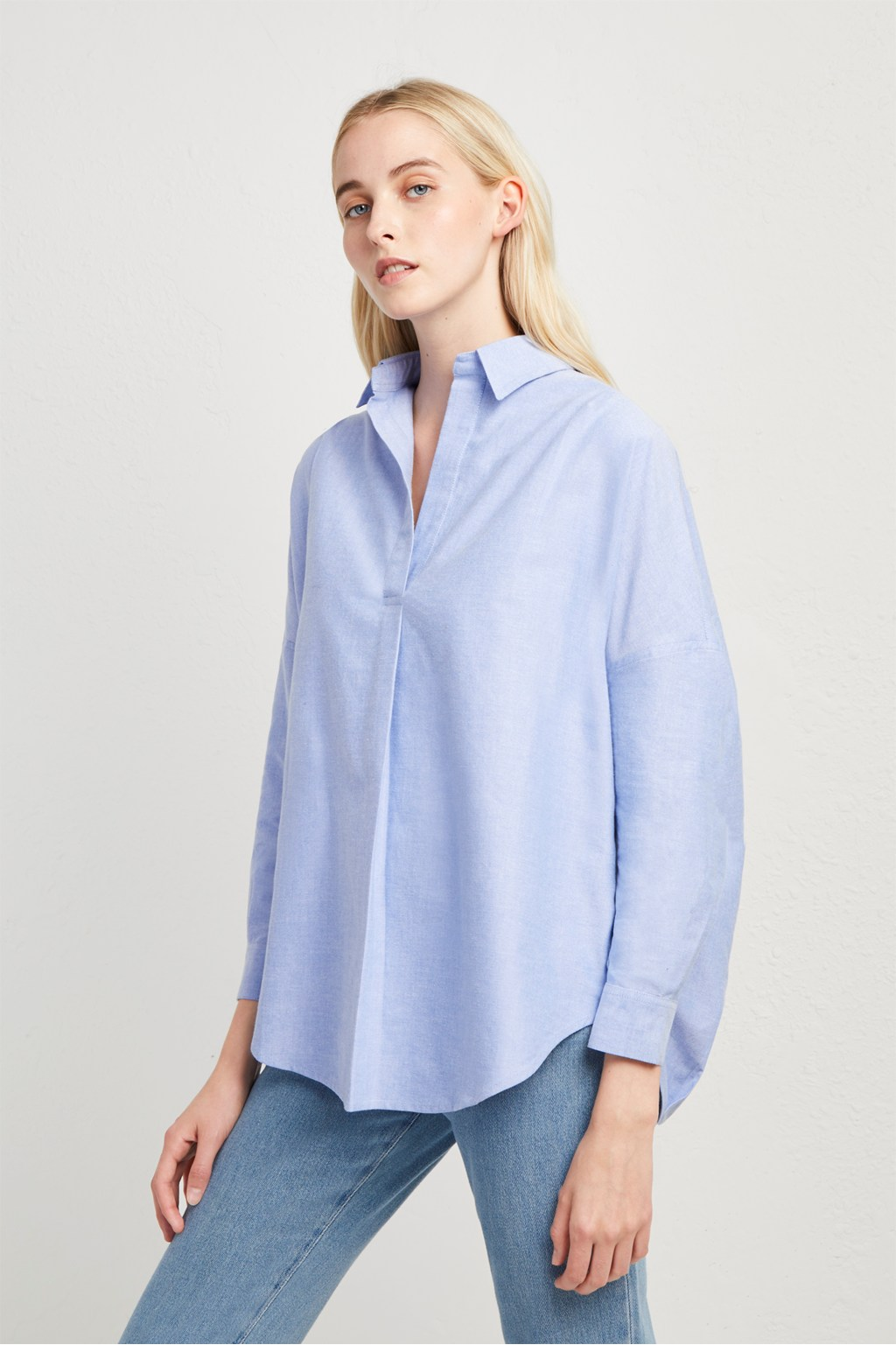 8b2d627d702 Chambray-Linen Blend Popover Shirt | Collections | French Connection