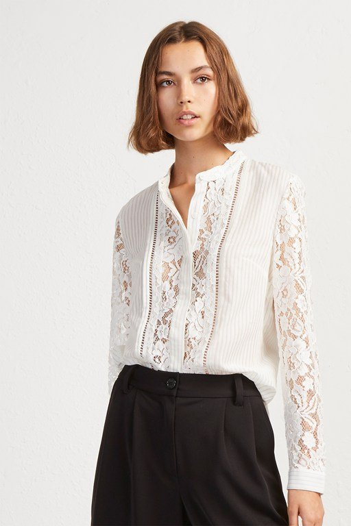 southside stripe lace mix shirt