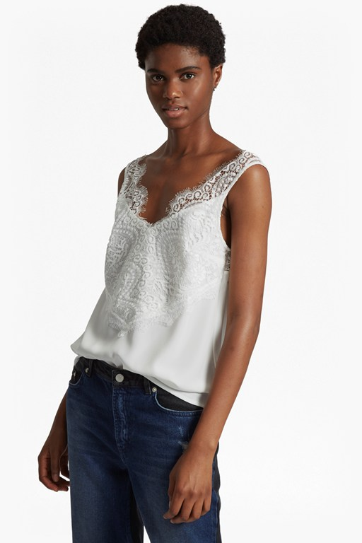Complete the Look Classic Light Crepe Lace V Neck Top