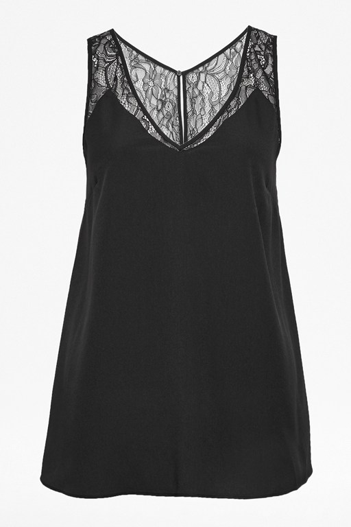 Complete the Look Crepe Light Lace Trim Vest