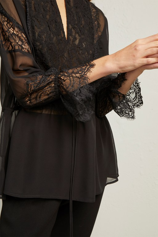 abella lace mix tie sleeve blouse