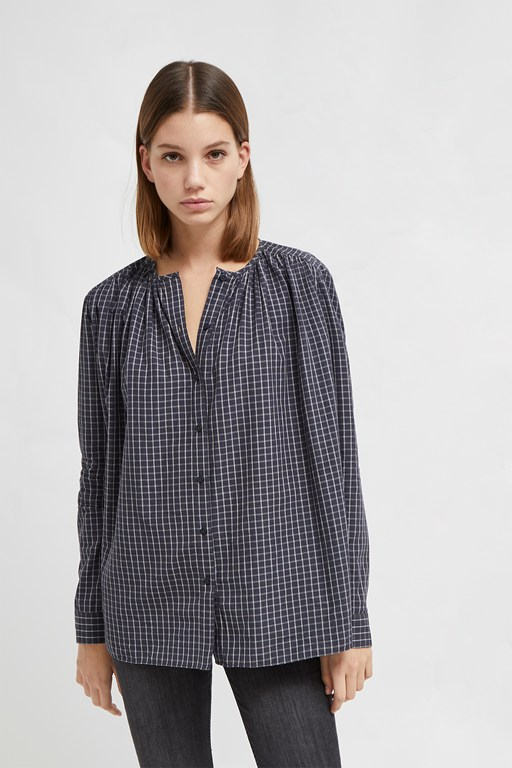 clarisse lawn check yarn dye shirt