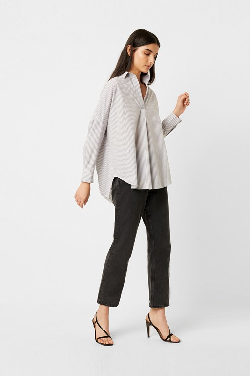 wide stripe pop over shirt