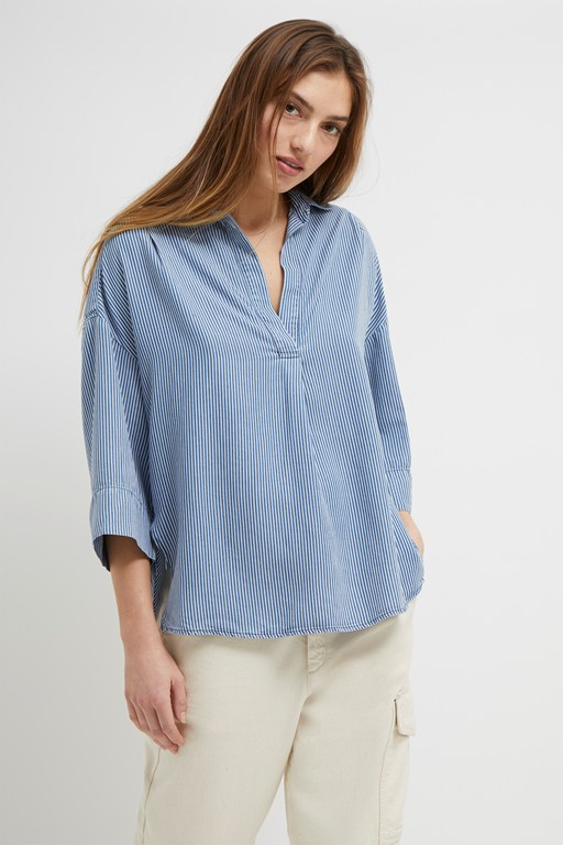 julienne stripe pop over shirt
