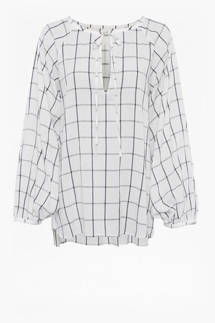 Canthemis Check Folk Blouse