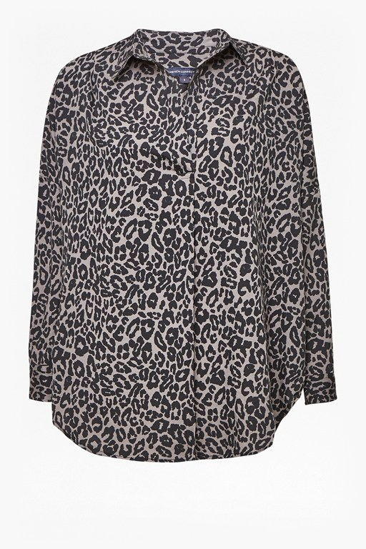 animal print pop over shirt