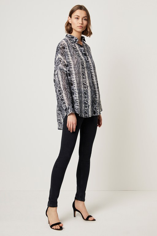 snake print pop over shirt
