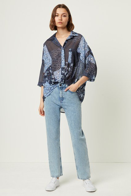 Patchwork Floral Georgette Twist Front Shirt
