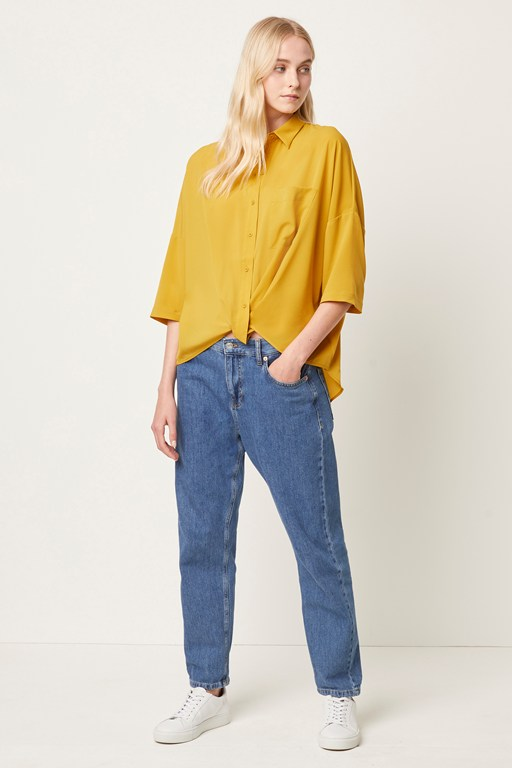 crepe light twist front shirt
