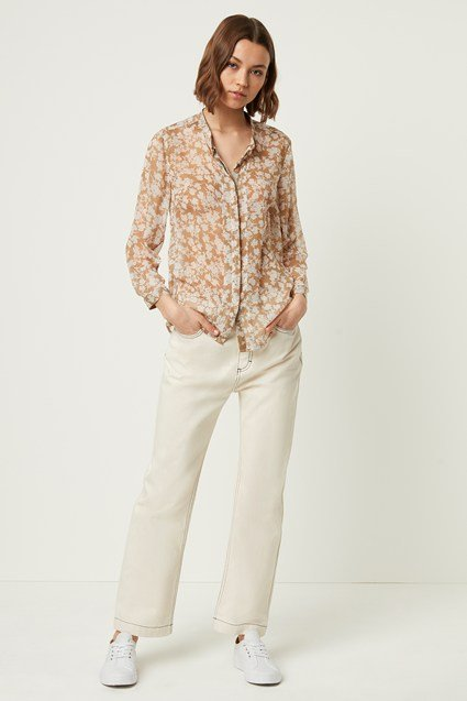 Cassa Crinkle Collarless Blouse