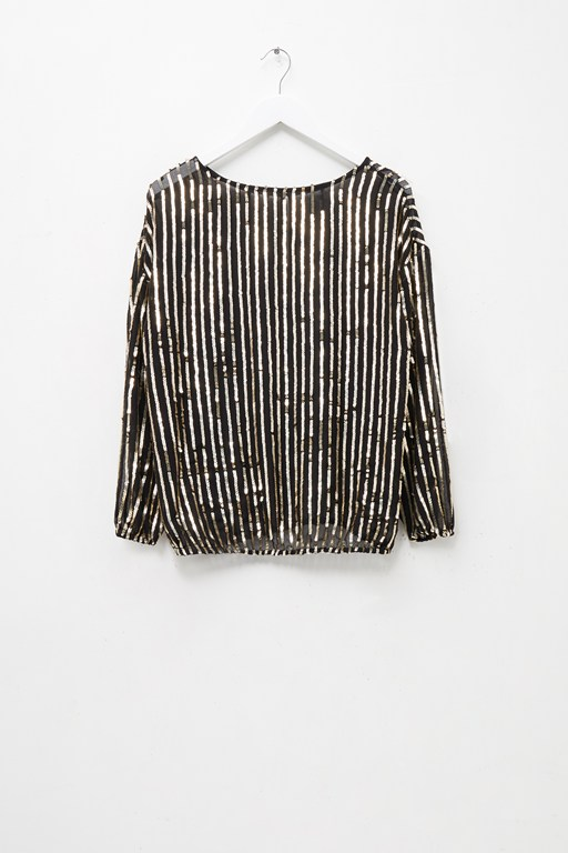Complete the Look Celina Sequin Striped Blouse