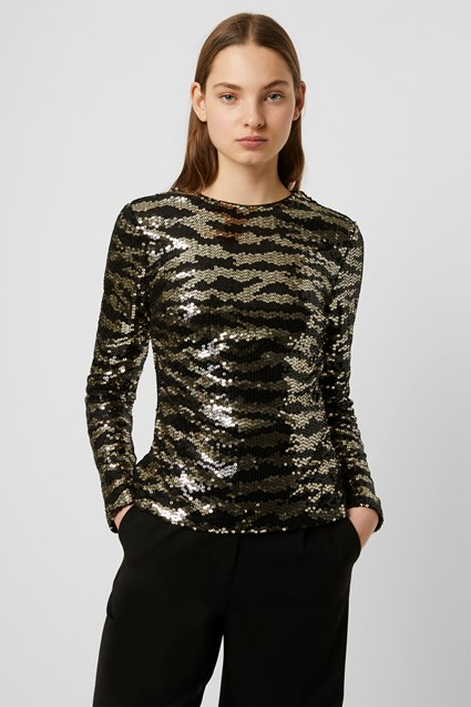 Ebba Tiger Stripe Sequin Top
