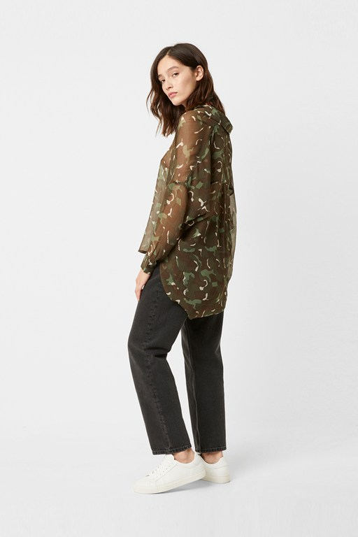 camo crinkle pop over shirt
