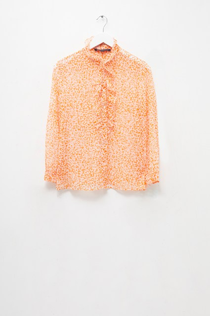 Cade Crinkle Ruffle Neck Blouse