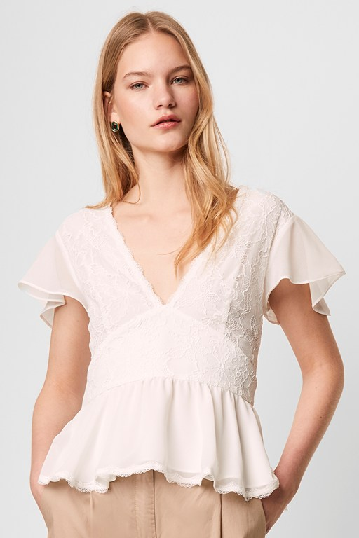 bikita lace mix short sleeve top