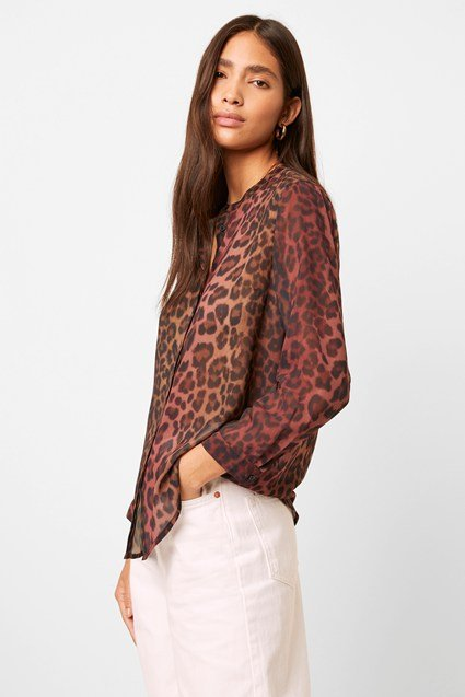Annalia Leopard Georgette Collarless Blouse