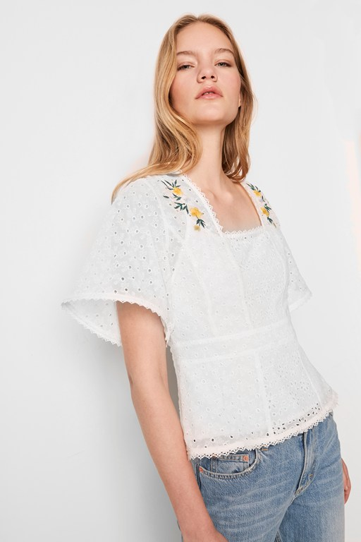 eka embroidered georgette top