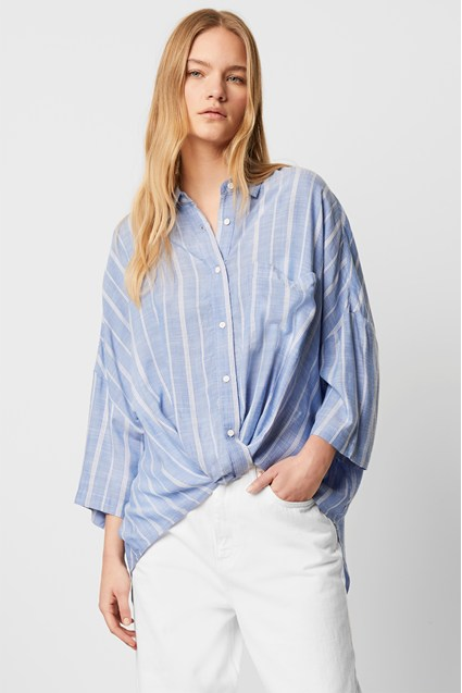 Twist Front Stripe Shirt
