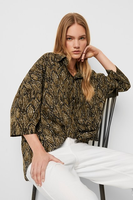 Green Lizard Twist Front Shirt