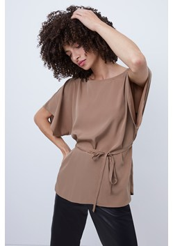 Crepe Light Short Sleeve Belted Top