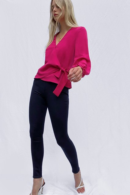 Crepe Light Long Sleeve Wrap Over Top