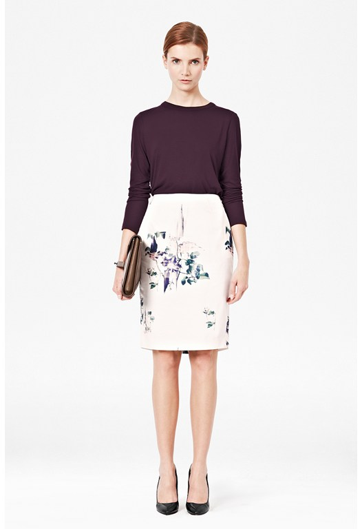 Water Flower Pencil Skirt