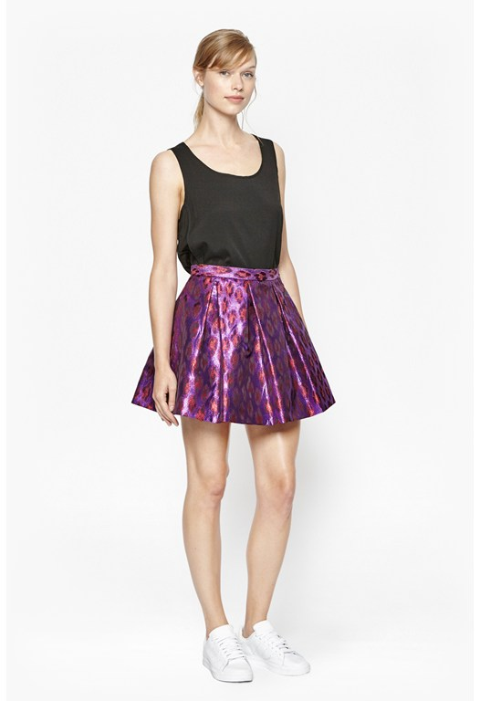 Disco Leopard Metallic Skater Skirt