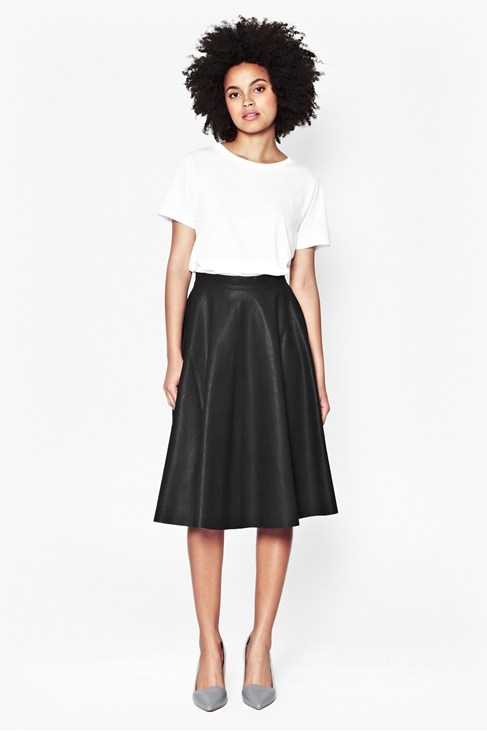 Textured Full Midi Skirt